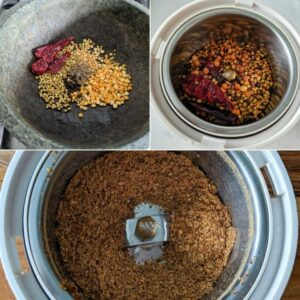 roasting the spices and grinding