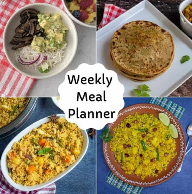 collage of weekly meal planner