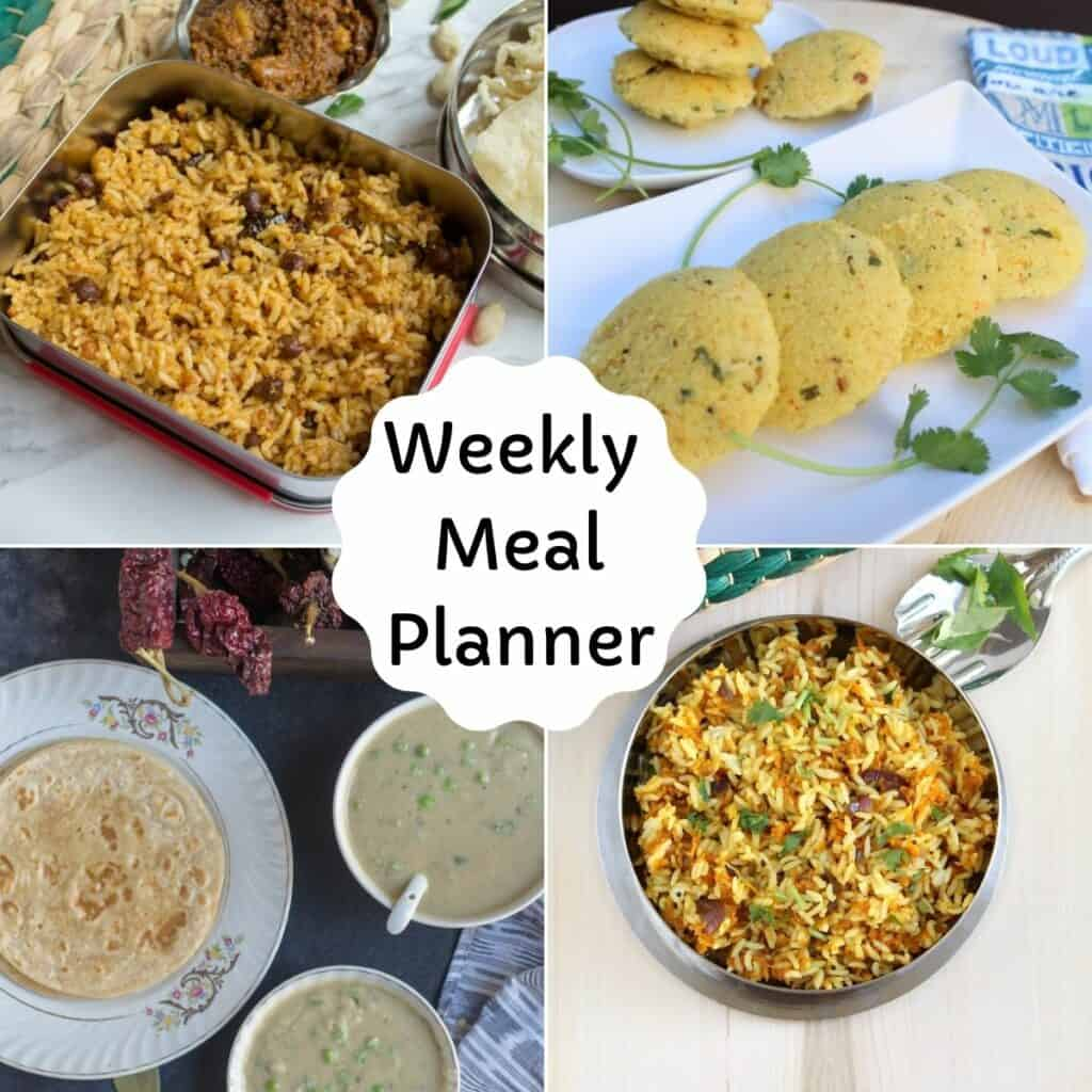 collage of weekly meal planner dishes
