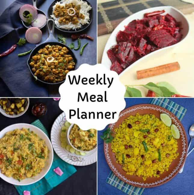 square image of weekly meal planner recipe collage