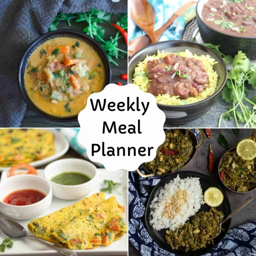 square image of vegetarian recipes collage for weekly meal planner