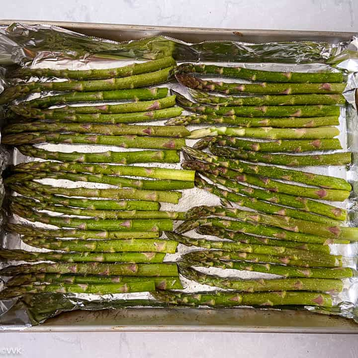 arranging the asparagus