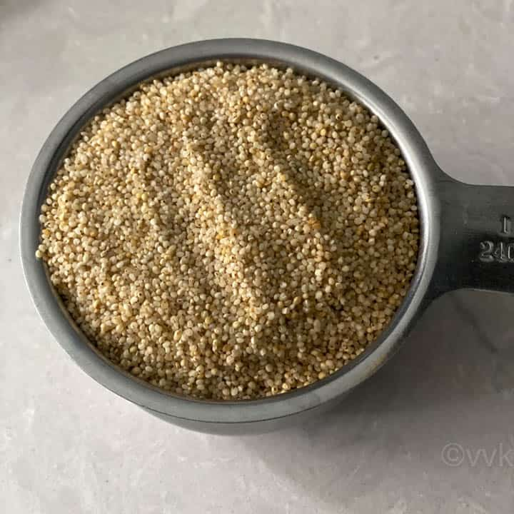 barnyard millet in a measuring cup