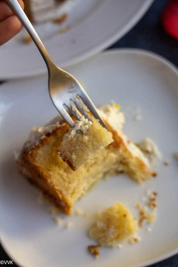 vanilla sponge cake in a fork