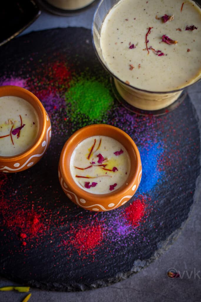 overhead shot of thandai served in kulhad cup