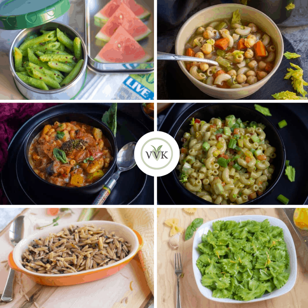 Vegetarian Pasta Recipes collage of six images with logo in the middle