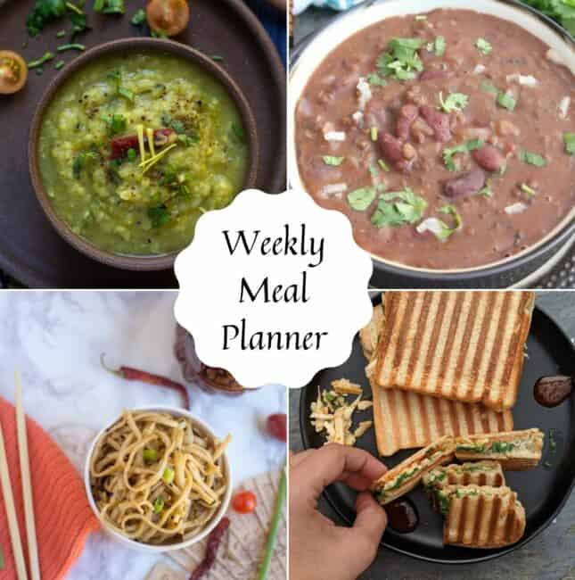 square image of weekly meal planner dishes