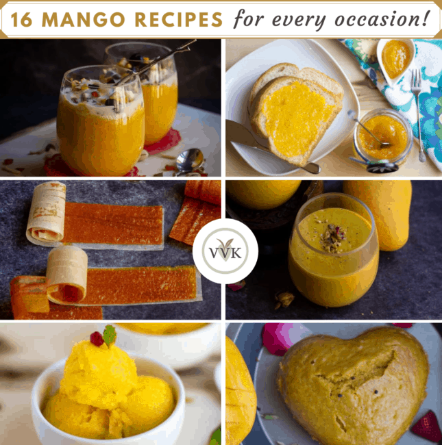 square image of mango recipe collage with title
