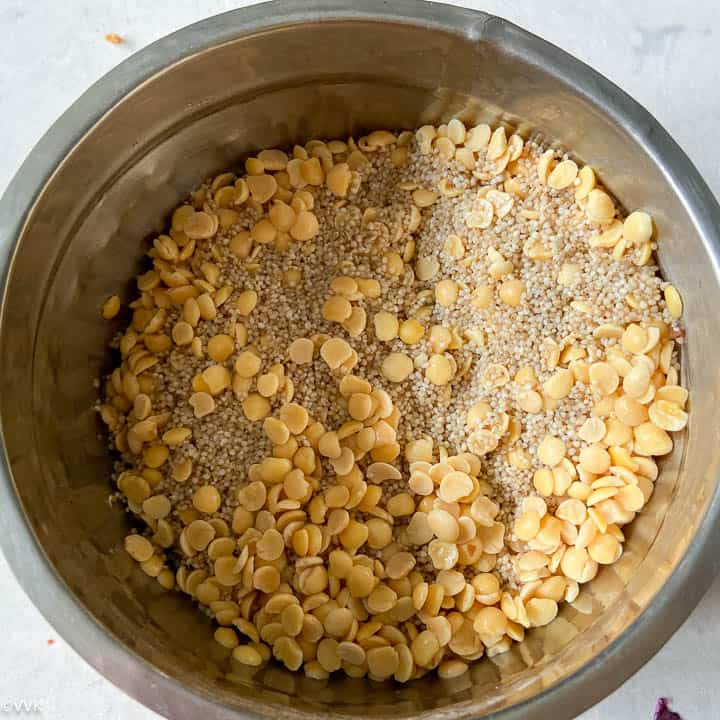 soaked millet and toor dal