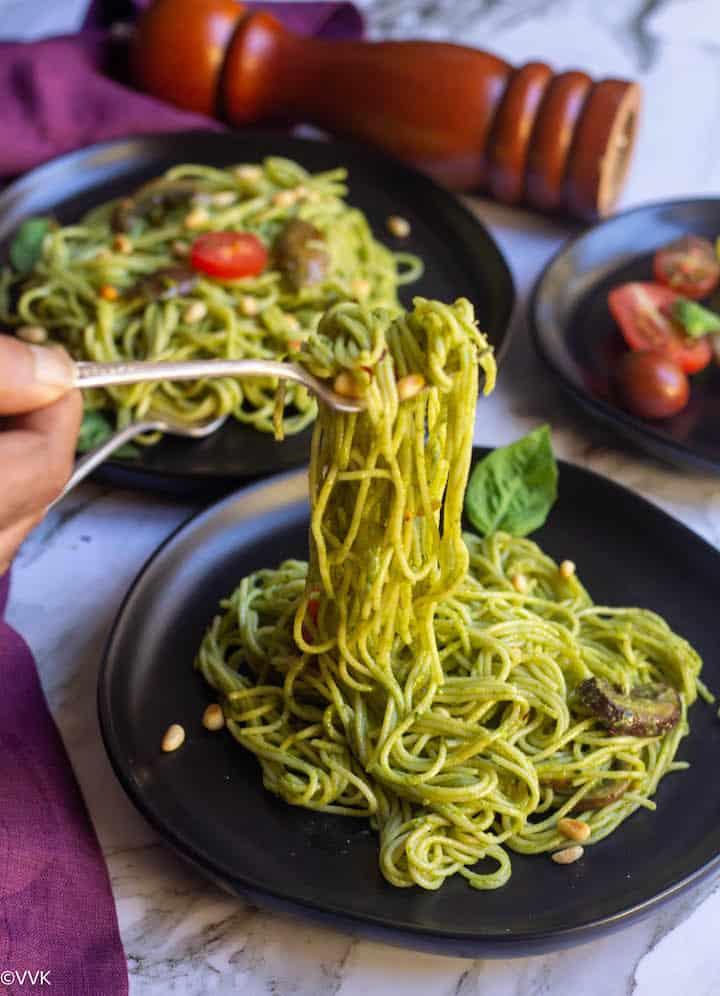pesto pasta lifed in fork