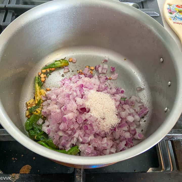 sauteing the onions