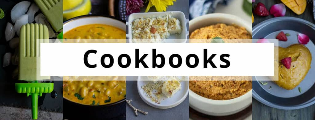 Cookbooks banner with a text overlay