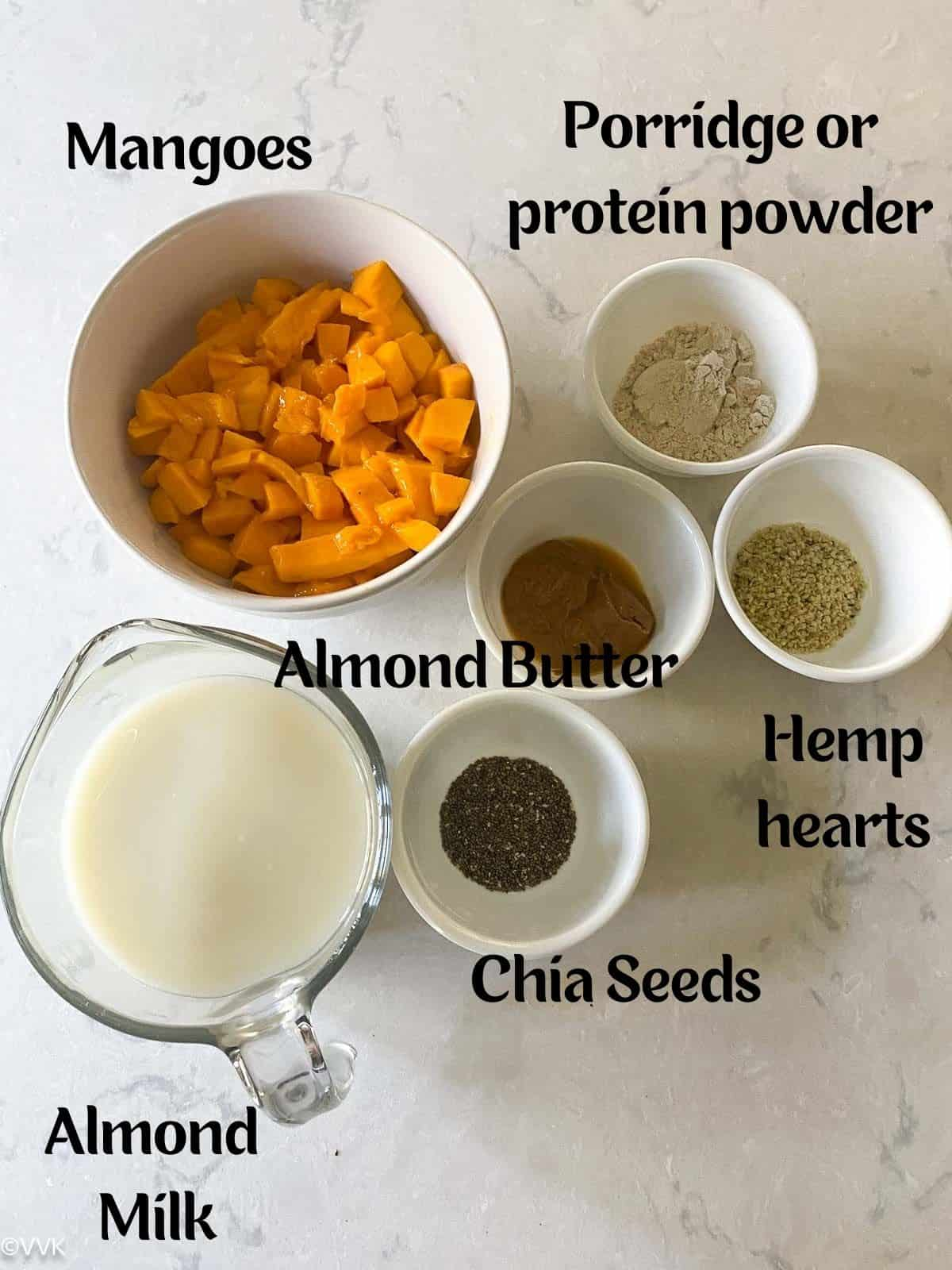 image containing the details of ingredients required for making this mango breakfast smoothie