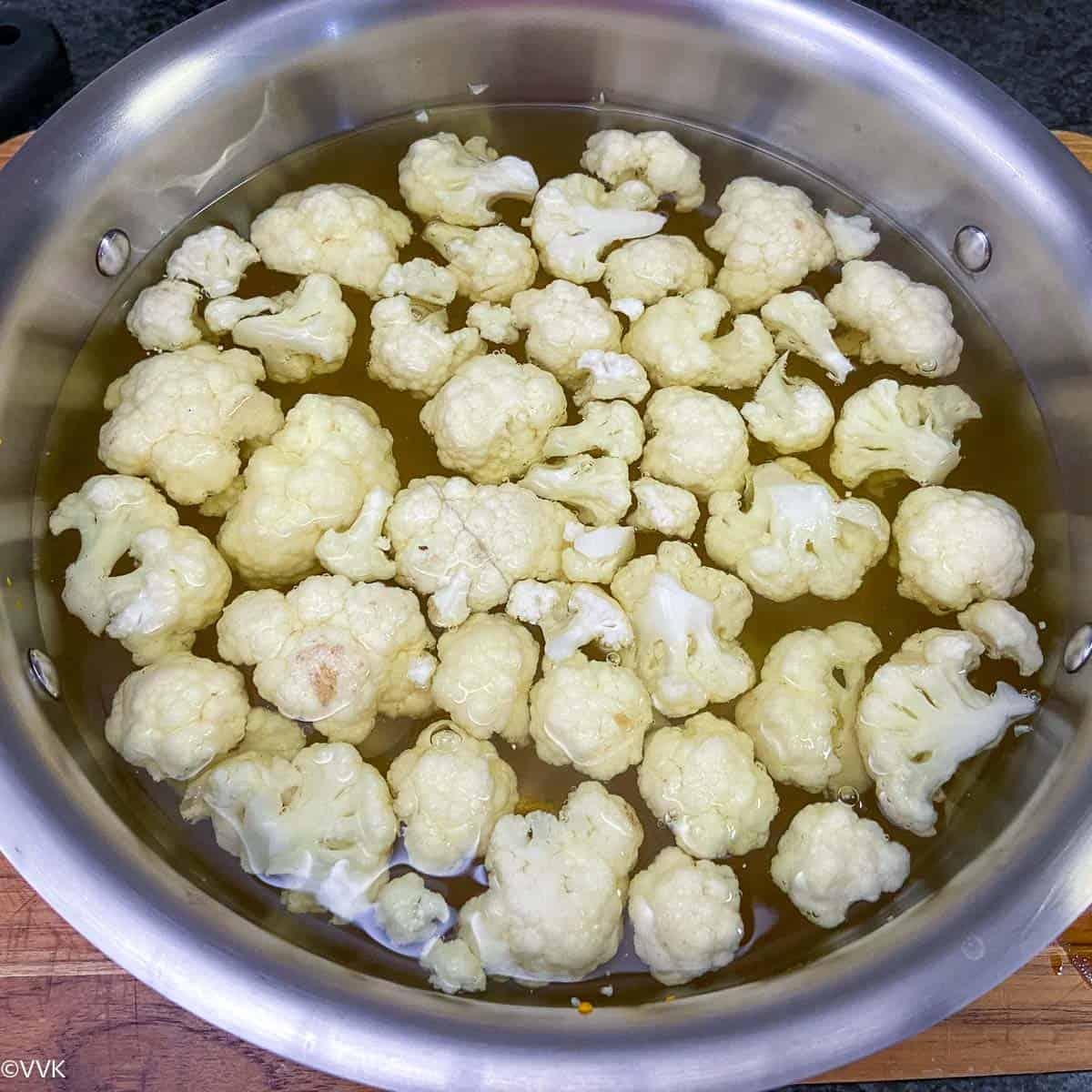 blanching the cauliflower