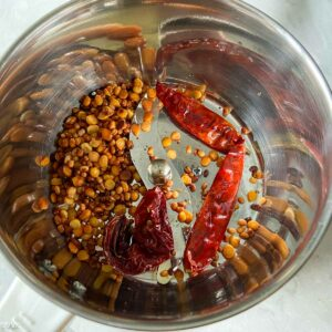 letting the chilies and lentils cool in mixer jar