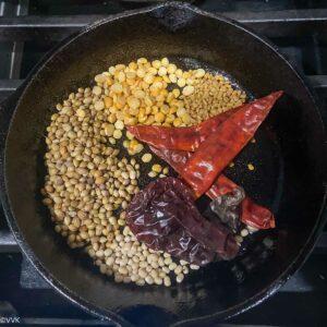 roast the ingredients for sambar
