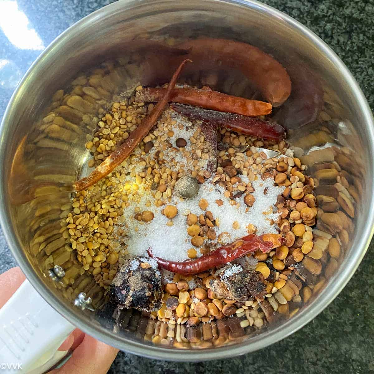 allowing the lentils to cool in mixer jar