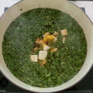 adding tofu and lemon zest