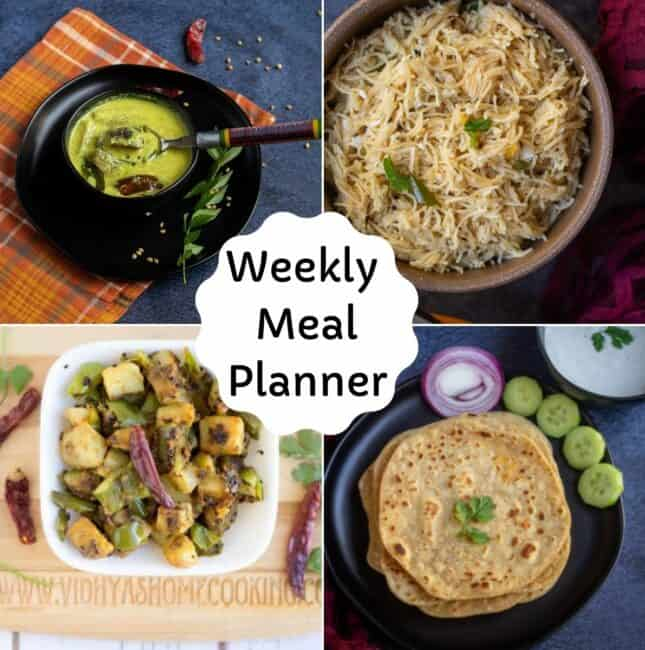 collage of dishes used in this week's meal planner
