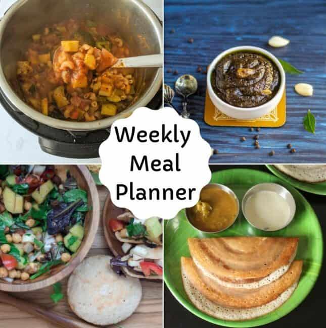 weekly vegetarian meal planner collage