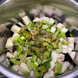 eggplant and celery and green olives layered