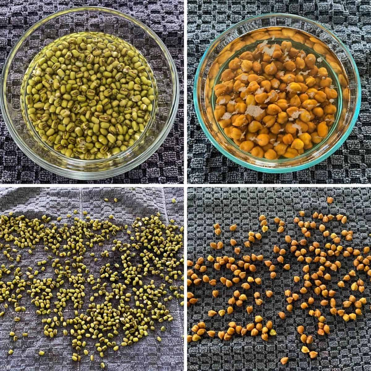 soaking and draining the lentils