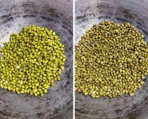roasting the green mung beans