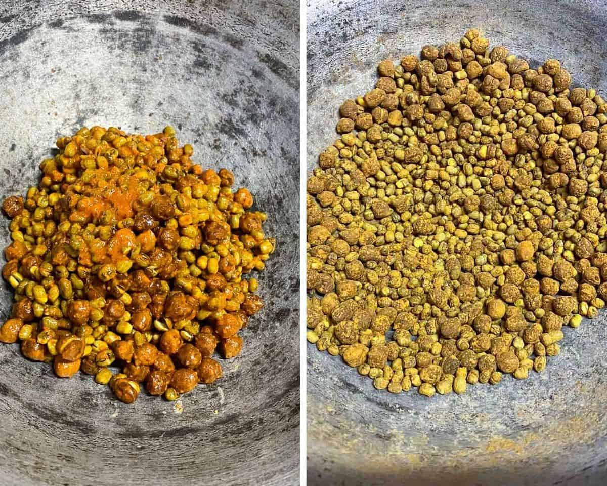 roasting the spice coated lentils again
