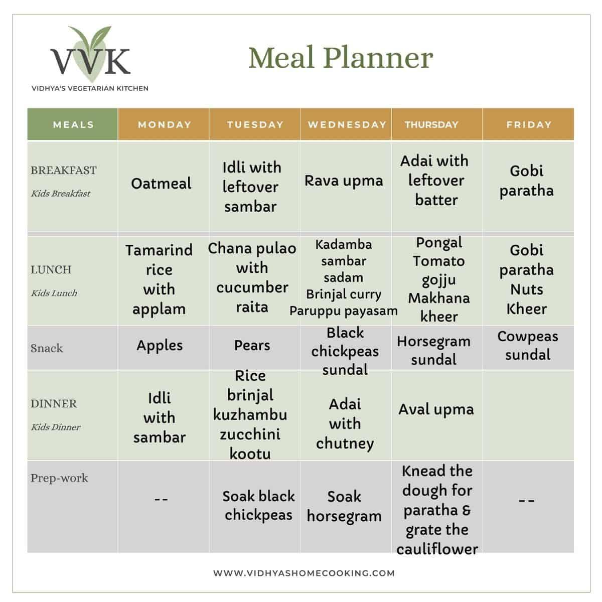 navratri-special weekly meal planner. VVK meal planner template.