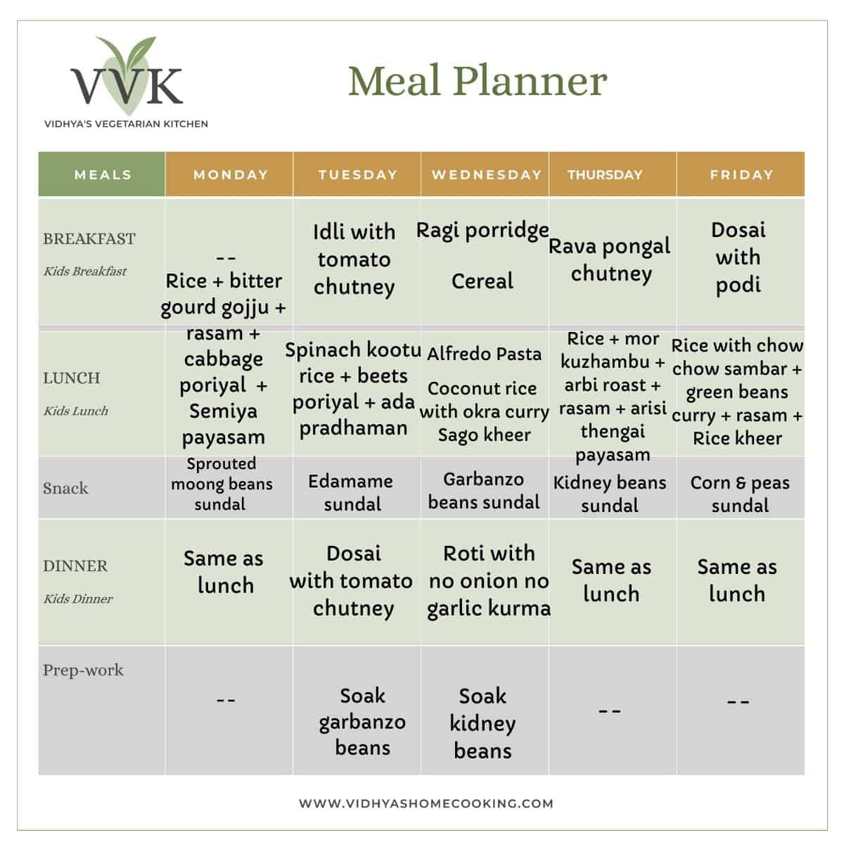 Festive Special South Indian Vegetarian Meal Planner