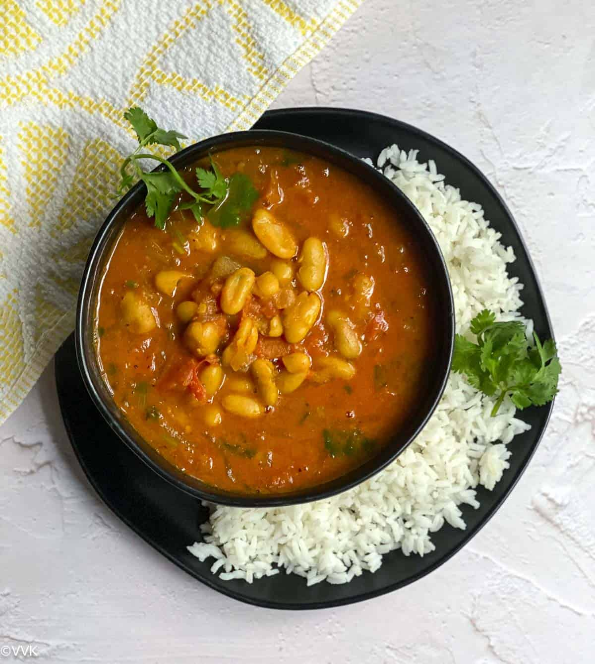 overhead shot of moroccan stew served with rice
