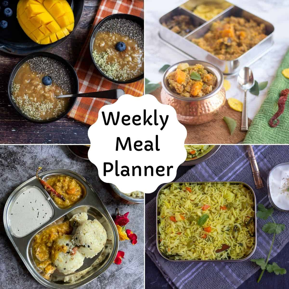 square image of weekly meal planner with recipe collage